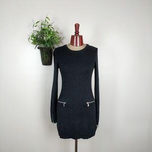 Michael Kors Knit Zipper Sweater Dress Black S